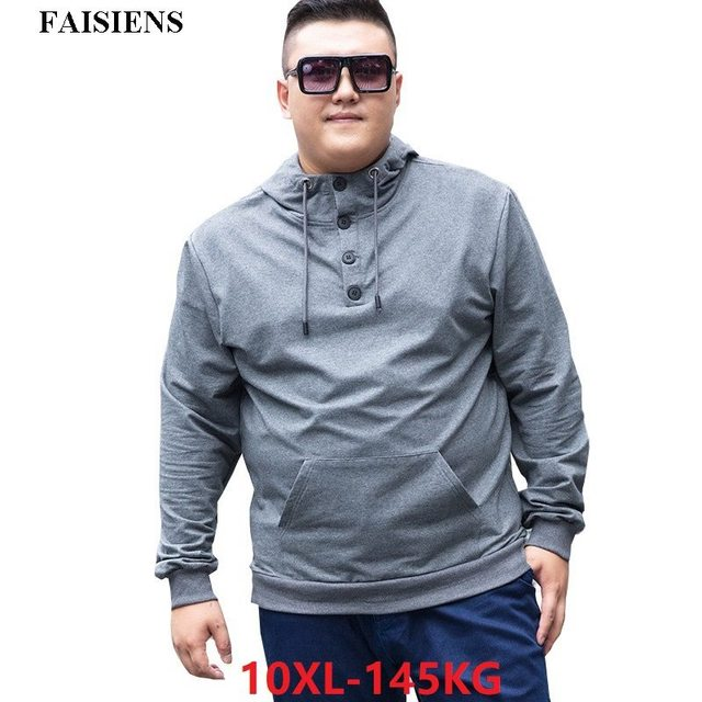 FAISIENS Large Size Men Hoodies Sweatshirts Hooded 6XL 7XL 8XL 9XL 10XL Casual Loose Pullover Coat Black 48 50 52 54 Sweatshirts