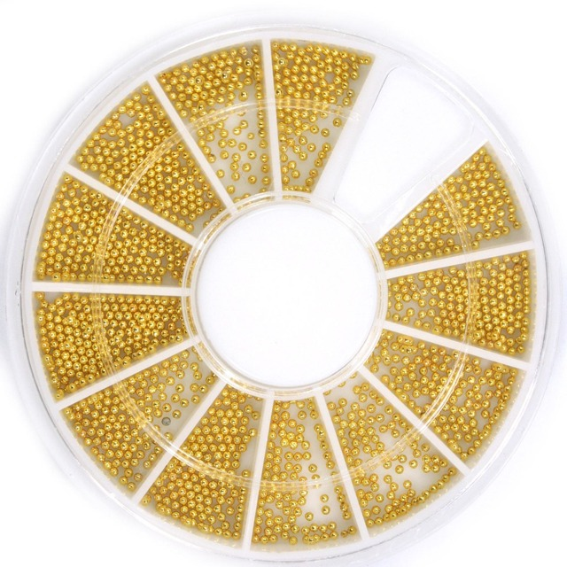 0.8mm Metal Gold Silver Micro Beads Nail Art Caviar Microbeads For 3D Nail Art Tips Decoration Manicure Tools