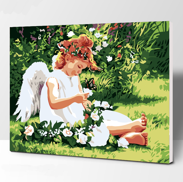 Frameless Picture Little angel DIY Painting By Numbers Modern Wall Art Handpainted Oil Painting On Canvas For Home Decor