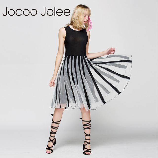 Jocoo Jolee Women Gardient Striped Mesh Patchwork Dress Slim Sleeveless Summer Swing Dress Empire A-Line Patchwork Dress