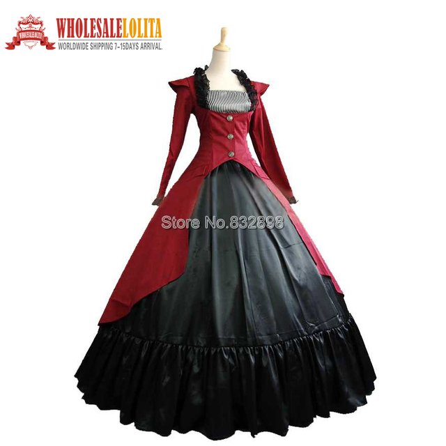 Burgundy and Black Cotton Southern Belle Ball Gown Victorian