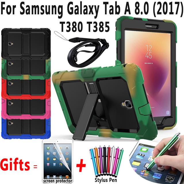Armor Safe Shockproof Tablet Case for Samsung Galaxy Tab A 8.0 2017 T380 T385 Cover with Stand+ Shoulder Strap+ Screen Protector