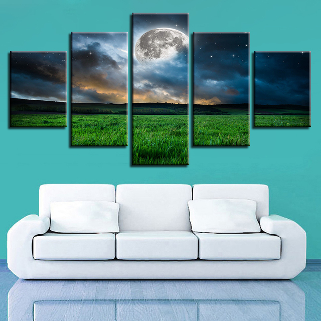 Modular Canvas Pictures Wall Art 5 Pieces Moon Grassland Night View Painting HD Prints Poster Frame Modern Decor For Living Room
