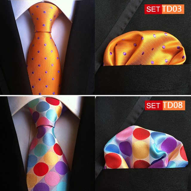 Tie 8cm Designer Necktie Handkerchief Set Fashion Dots Spots Ties Pocket Squares Wholesale