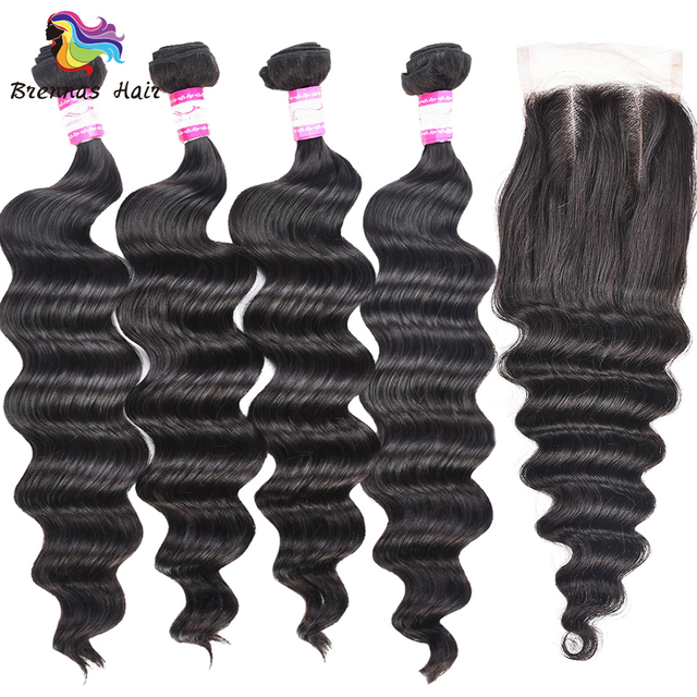 100% Brazilian human Remy Loose Wave hair bundles 4pcs bundles with a closure for a full head for black women natural color