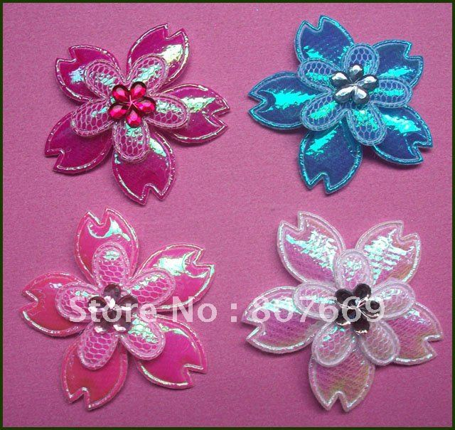Free shipping 40pcs Shiny 2 layer flower with rhinestone center mix color
