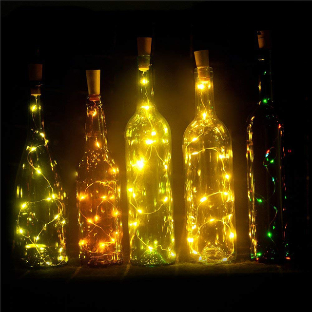 1M 10leds Glass Wine Bottle Stopper LED String Light Christmas Copper Wire Fairy lights For New Year Wedding Party Decoration