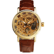 2015 Top quality skeleton hollow fashion mechanical hand wind men luxury male business leather strap Wrist Watch watch men