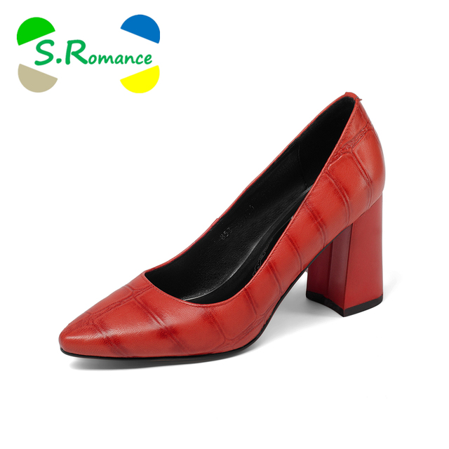 S.Romance Women Pumps 2018 Genuine Leather Fashion Plus Size 34-42 Elegant Pointed Toe Office Lady Woman Shoes Black Red SH034