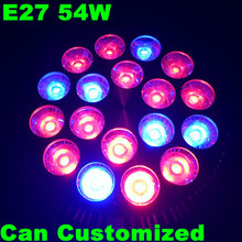 1X Cheapest 54W E27 Led Grow Light for Flower Plant Herbs and Vegetables AC85-265V High Effiency 3 Years Warranty