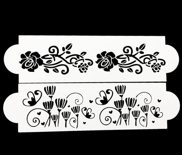 2 Pcs Flower Lace Cake Stencil Cookie Fondant Rose Baking Cake Kitchen Cupcake Decoration Template Mold