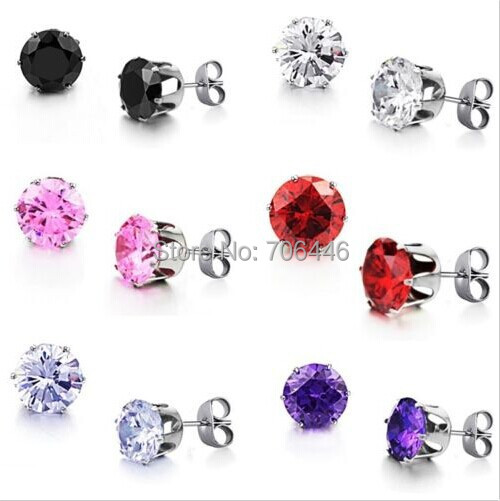 Clear Crystal Cubic Zircon Stud Earrings Titanium Stainless Steel