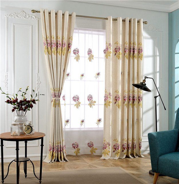 The new pastoral curtain embroidered linen cloth embroidered butterfly bedroom curtains living room balcony