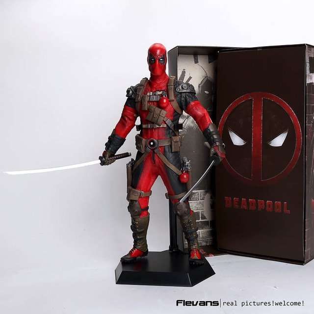 """Crazy Toys Deadpool PVC Action Figure Collectible Model Toy 12"""" 30cm red / sliver HRFG516"""