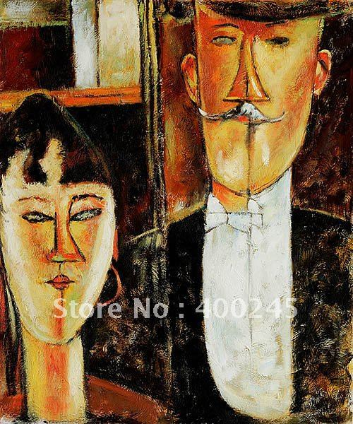 Modern oil painting Bride and Groom by Amedeo Modigliani portrait art High quality+100%handmade+Free shipping
