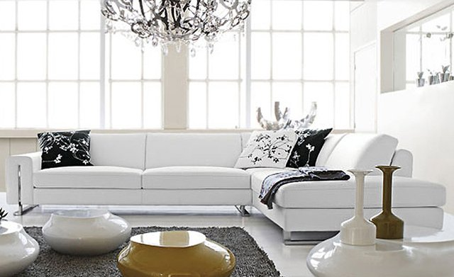 Free Shipping Small L Shaped simple white cattle leather modern sofa  best home furniture LC9108