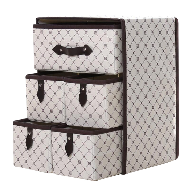 Non-woven Three Layer Five Drawer Classified Mouldproof Underwear Storage Box Sundries Container Organizer
