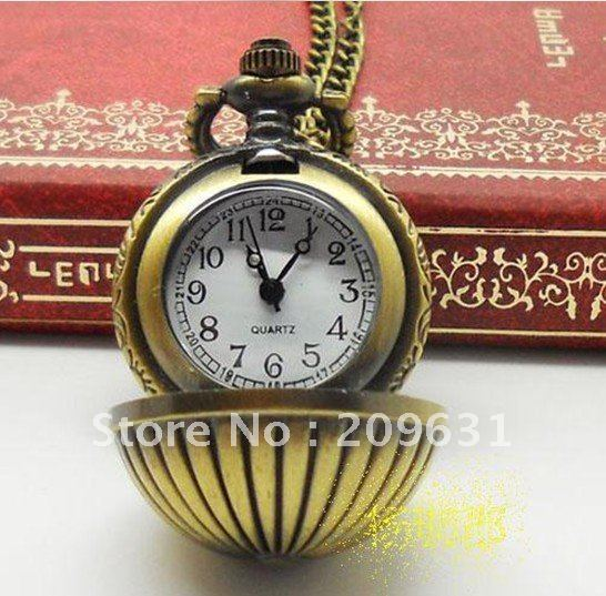 Victorian Style Bronze Metal Mini Golf Ball Quartz Pocket Watch Necklace PW001