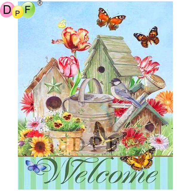 DPF 5D diy diamond painting cross stitch diamond embroidery mosaic square full Rhinestone home wall painting Welcome cabin