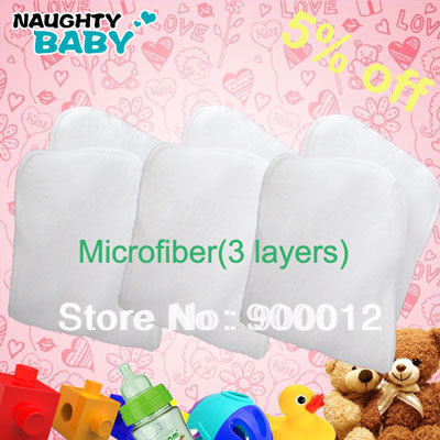 Free Shipping Microfiber Inserts 350 Pcs Reusable Cloth Diapers Inserts for Sell-3 layers of microfiber Absorbent Urine