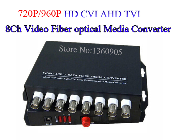 8 Channel TVI AHD CVI Video optical Media Converter Transmitter Receiver Single mode 20KM for 720P/960P HD Coaxial Security Cam