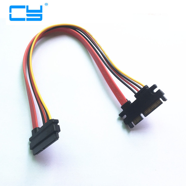 5PCS 30cm 22Pin SATA Cable Male to Female 7+15 Pin Serial ATA SATA Data Power Combo Extension Cable 50cm Connector Conterver