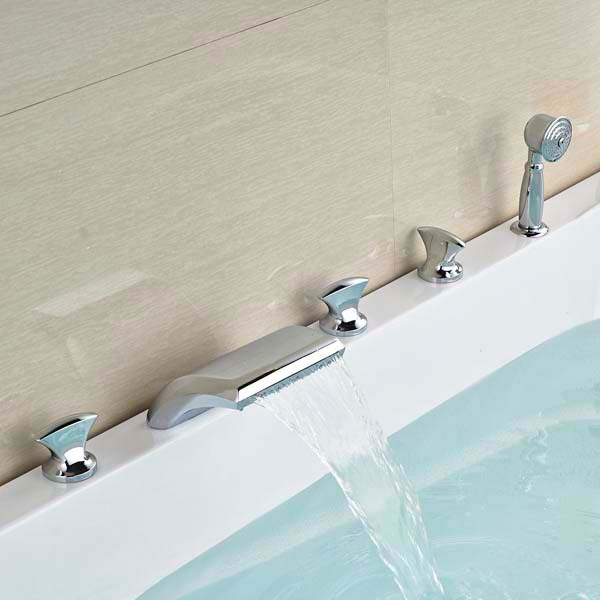 Contemporary Style Chrome Brass LED Waterfall Bathroom Basin Faucet Mixer Tap