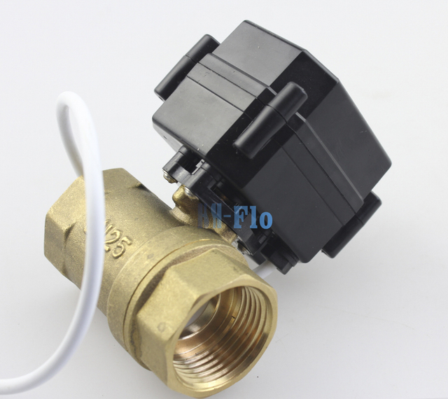 "HSH-Flo 1"" DN25 DC3-6/12V Brass Two Way Motorized Ball Valve, CR-05 Electrical Ball Valve With Position FeedBack"