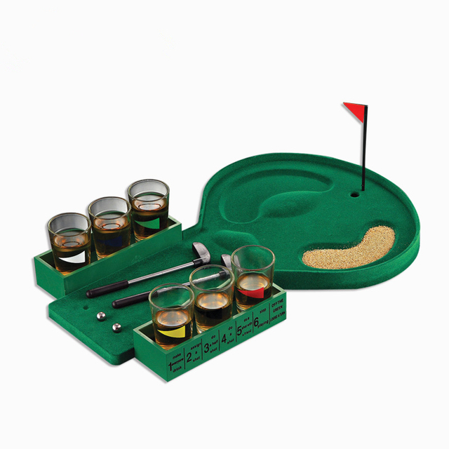1 Set Mini Golf Drinking Game with 6 Shot Glass Party Toys Novelty Gifts Gag Toy Family Board Games Portable for Night Club Bar