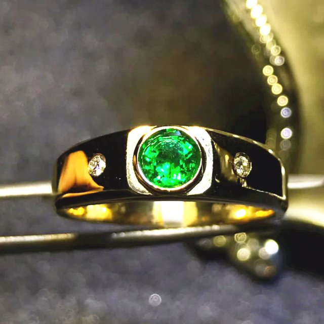 dubai gold jewelry luxury 18k yellow gold South Africa real diamond natural emerald ring for women wedding engagement