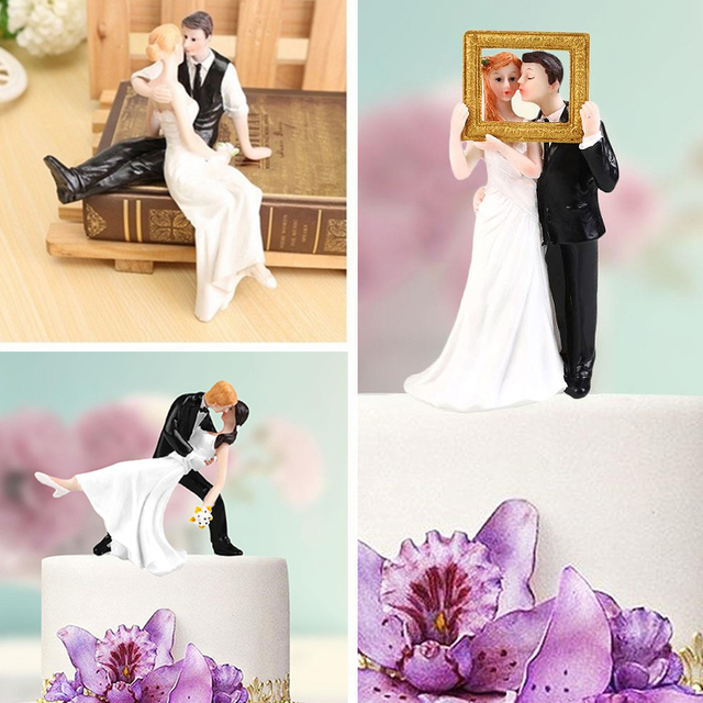Elegant Synthetic Resin Bride&Groom Cake Topper Decoration Figurine Gift Wedding Accessories Cake Decorations Wedding Gift