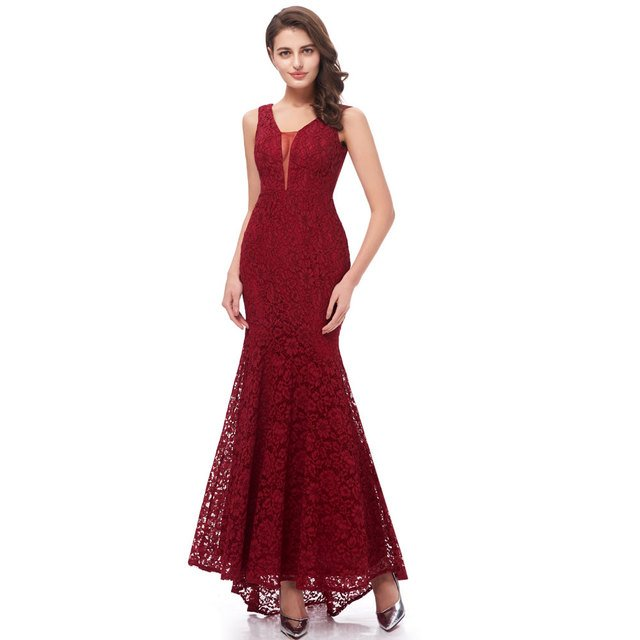 Beauty Emily Wine Red Burgundy Lace Bridesmaid Dresses 2020 Long for Women Mermaid Sleeveless Wedding Party Prom Dress for Girl