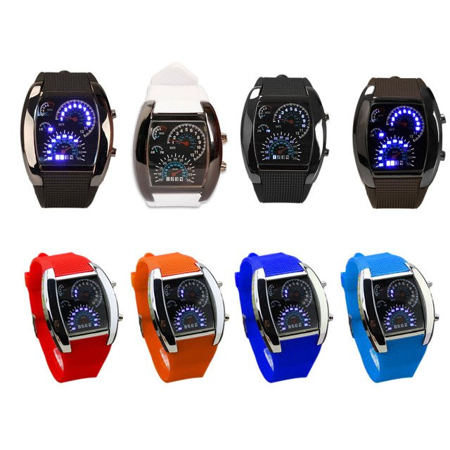 Men Military Sport Watches Gift 2 Times Zone Backlight Quartz Watch Chronograph Jelly Silicone Wrist Watch For Boyfriend  LL
