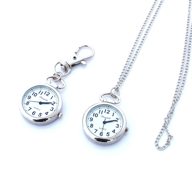 Brand New Fashion Silver Pocket Pendant Key Ring Chain Quartz Dress Watch + Gift Bag Children Watch Gifts
