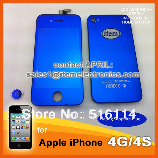 GSM Digitizer Mirror LCD for iPhone 4 4G 4s Sapphire Blue Color display touch Panel Screen Back Cover Housing replacement