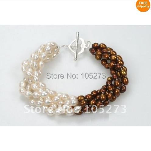 Charming!Pearl Bracelet!Chocolate&White Cultured Pearl Bracelet 5 Strand 7.5''inchs Size:4-5mm Fashion Jewelry Free Shipping