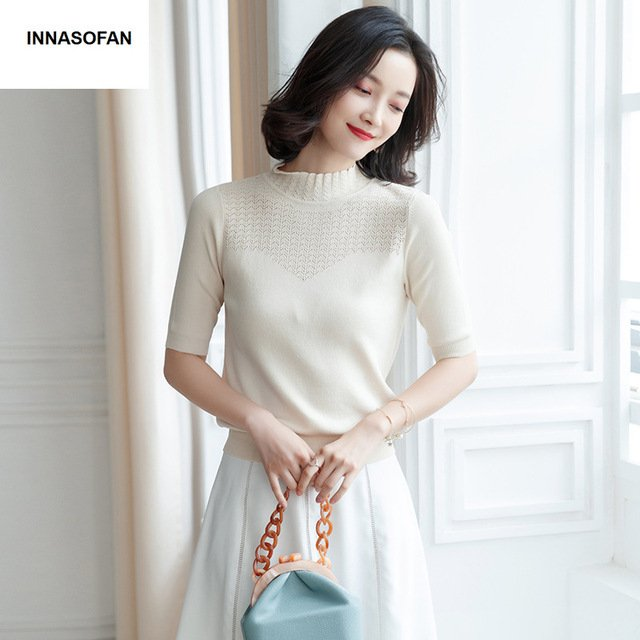INNASOFAN thin sweater women Spring-summer openwork sweater solid color Euro-American fashion elegant sweater with medium sleeve