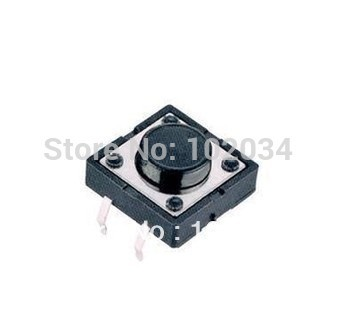 FREE SHIPPING 100PCS DIP 12X12X5(h)MM Tactile Tact Push Button Micro Switch Momentary   (High temperature resistant ROHS)