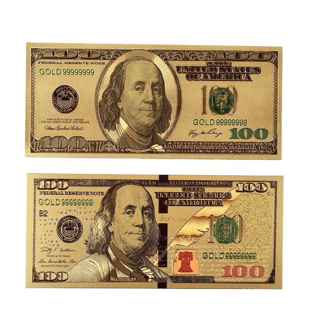 Gold Banknotes Commemorative Notes 100 Dollar Bills High Quality Realistic 24K Gold Plated Dollars 2PCS/Set Antique Gifts