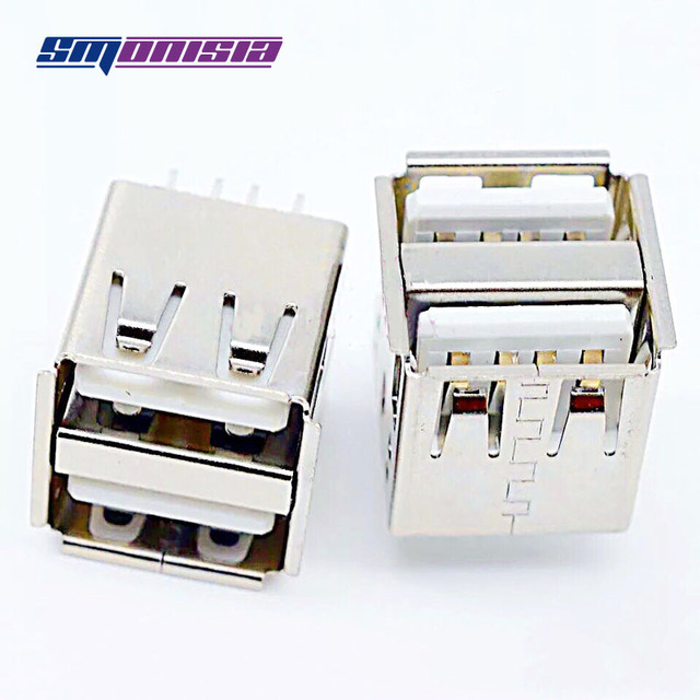 100pcs Inline High 14.2mm Type-A Jack USB Double Interface 180degrees Vertical USB Female Socket Connector