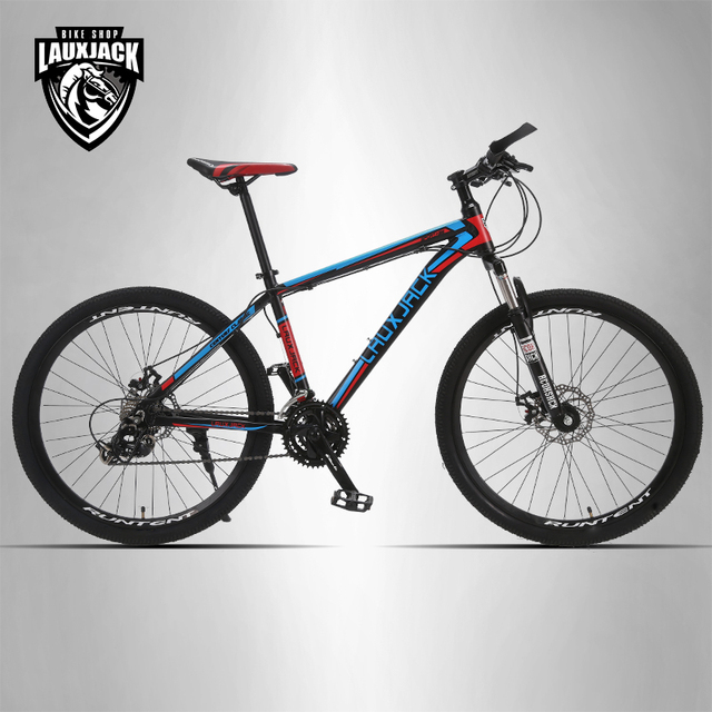 "LAUXJACK Mountain bike aluminum frame 24 speed Shimano mechanical disc brakes 26 ""wheels"