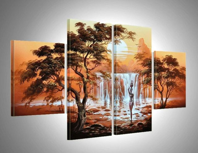 hand-painted wall art elephant sun home decoration Abstract landscape oil painting on canvas 5pcs/set  PZ-002