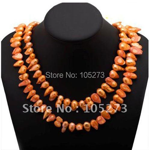 Stunning!Pearl necklace AA 14-19MM Orange color Genuine Freshwater pearl Baroque shaper 48''inch long necklace Free shipping