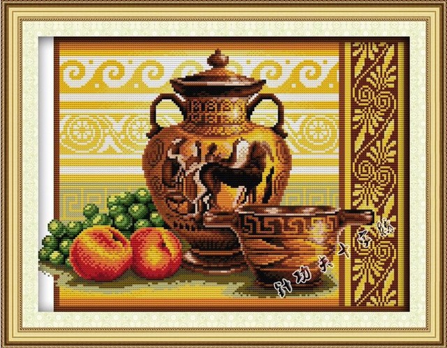 Pottery & fruits(2)cross stitch set pattern DMC color count print 18ct 14ct 11ct embroidery kit DIY handmade needlework supplies