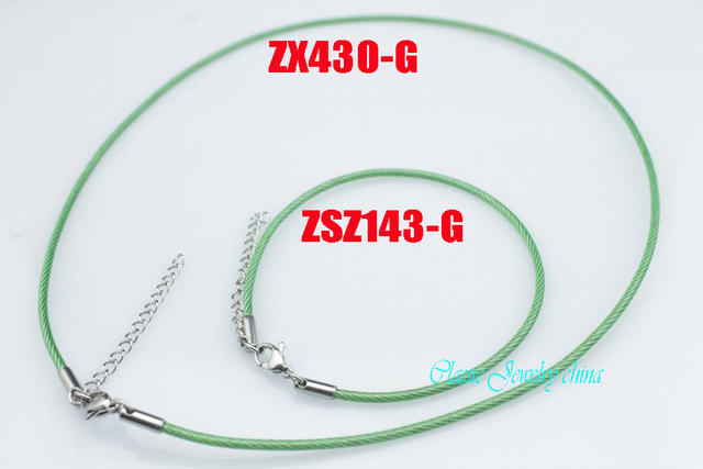 2mm green color stainless steel bracelet and necklace set jewelry cable hand catenary chain women lady  fashion jewelry 10 sets