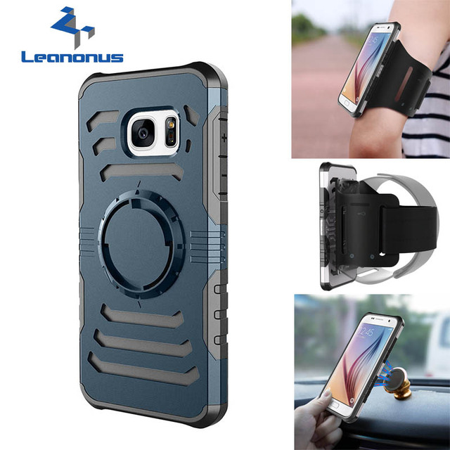 LEANONUS 3 in 1 Workout Sport Running Riding Climbing Arm Band Gym Belt Phone Case For Samsung S7 S7edge Back Cover Jogging Case