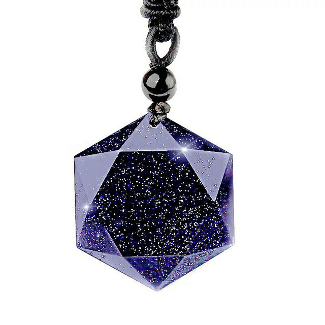 Natural Six-star Blue sand Stone energy stone six-pointed star Pendant crystal  Carved  Pendant Necklace women's  Jades Jewelry