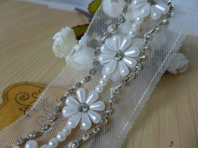 1 Yard Exquisite Pearl Beaded Mesh Lace Trim With Rhinestone For Bridal Belt, Wedding Sash, Costume Design