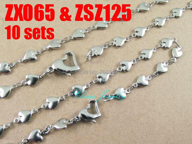 his-and-hers 316L stainless steel necklace bracelet set heart-shaped chain fashion men's women jewelry 10set  ZX065 & ZSZ125