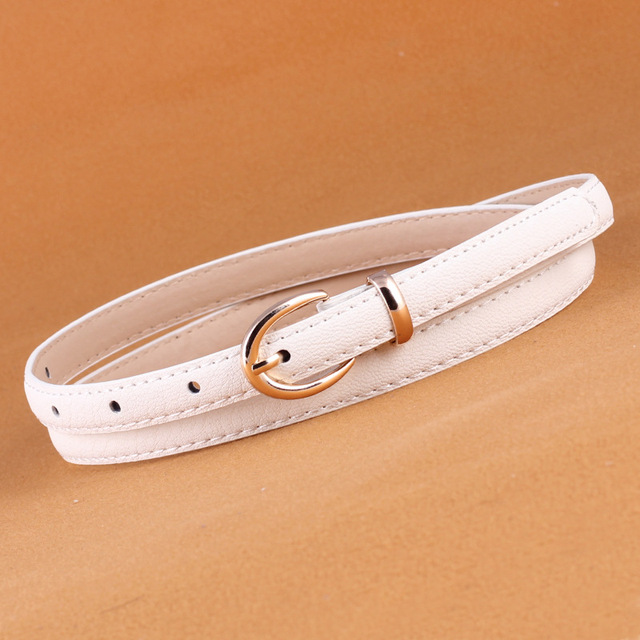 1Pc Candy Color Metal Buckle Thin Casual Belt for Women Sweet Female Leather Belt Ladies Straps Waistband Apparel Accessories